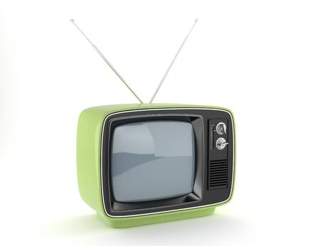 outmoded: Green retro TV on white background