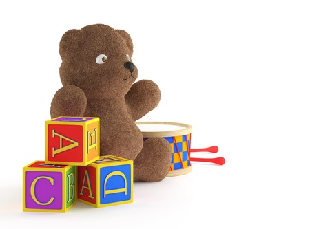 yellow block: isolated child toys teddybear, building blocks, and drumb. This image contains a path for exact isolation from the background