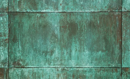 oxidized: green copper plate texture Stock Photo