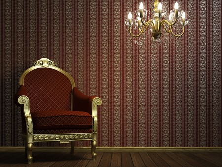 chandelier background: interior scene with classic armchair and lamp