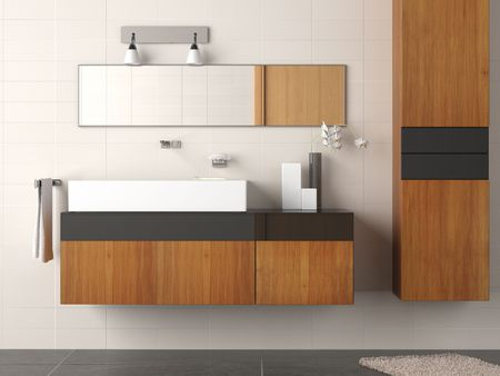 bathroom interior: Detail of a clean and modern designed bathroom