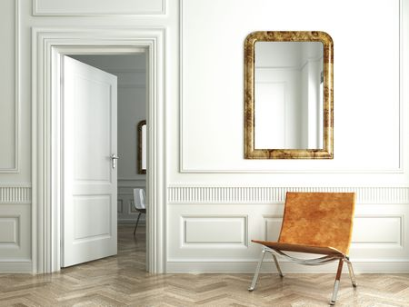 molding: Classic white interior with chair mirrors and open door