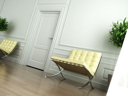 Classic white interior with chairs and tilted camera Stock Photo - 4327170