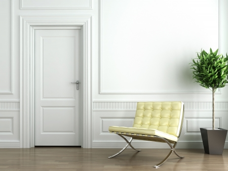 Classic white interior with chair and plant photo