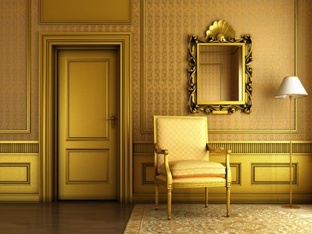 Interior scene of luxury living room with lots of golden molding and furniture photo