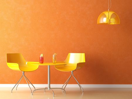 inox: 3D render scene of a modern coffee-shop table and chair in orange and yellow colors