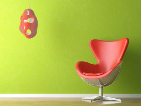 renders: 3D renders of a modern red leather couch and lamp on green wall