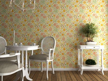 home interior with flowery wallpaper and white furniture Stock Photo