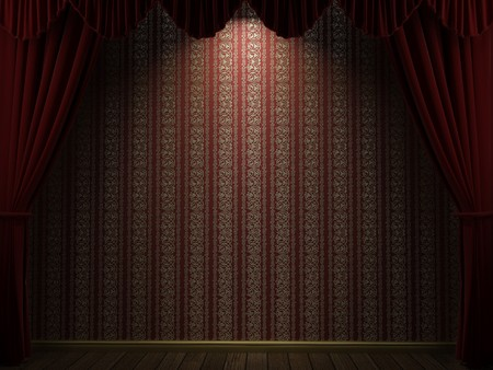 open theatre curtains showing a red and gold wallpaper.