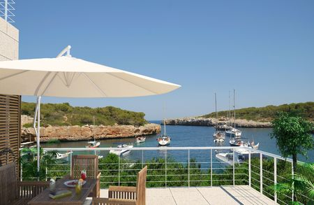 awning: 3d render of terrace with gorgeous views to the mediterranen sea.