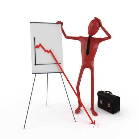 exact: Business dummy concerned about financial chart. This image contains path for exact isolation from the background Stock Photo