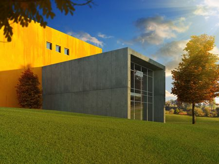 3D scene of modern minimalistic building in a beautyful autumn meadow