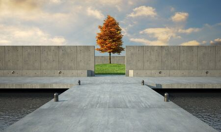 minimalistic: 3d render of abstract and minimalistic open space. Stock Photo