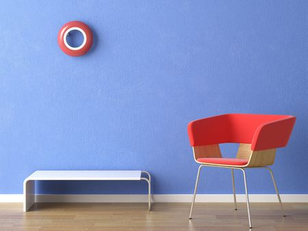 red chair, lamp and table on blue wall Stock Photo