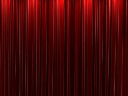 act: Background of closed red velvet curtains Stock Photo