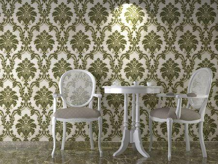 flowery: dise�o de interiores con flores cassical papel pintado en verde Foto de archivo