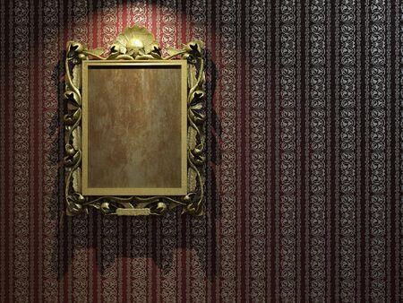 ornated: D'oro e ornata cornice classica carta da parati con copia spazio per la vostra immagine o il testo Archivio Fotografico