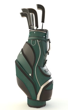 golf equipment: bag of golf clubs isolated on white.