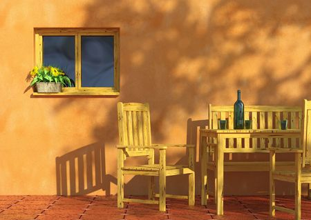 sunny orange terrace with flowers in a window and rustic wooden furniture. photo
