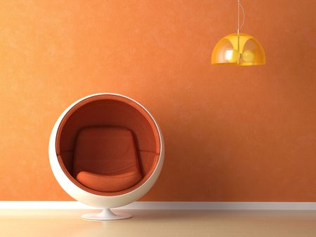 Interior design with minimal elements in orange color