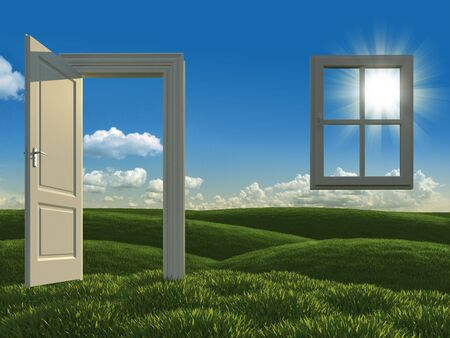 surreal landscape: white open door and window on meadows as concept for green house development