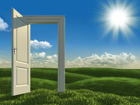 surreal landscape of an open white door on green meadows