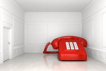 A very big red phone in an empty white room Imagens - 4574375