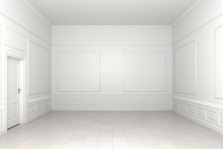 empty space: 3d scene of an empty white classic room