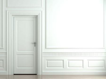3d scena di un classico muro bianco con porte e moldings Archivio Fotografico