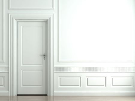 white walls: 3d scene of a white classic wall with door and moldings Stock Photo