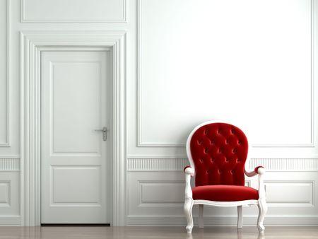 red velvet armchair on classic white wall interior Stock Photo