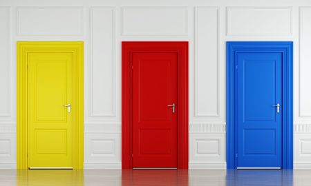 red door: 3d scene with three color doors in a wall as concept for choice or luck Stock Photo