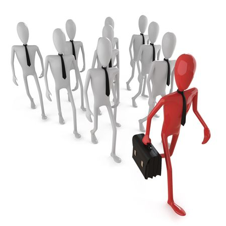 businessteamwork: group of business dummy following a leader. Stock Photo