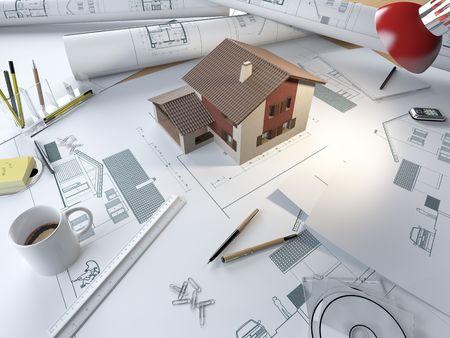 Zeichnungstabelle eines Architekten mit Plänen und 3d Modell eines Hauses