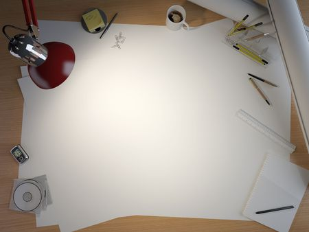 centered: drawing table with lots of elements and a centered copy space for your own design