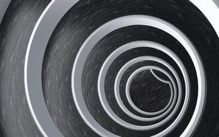 3d scene of a modern spiral ramp on white and black photo
