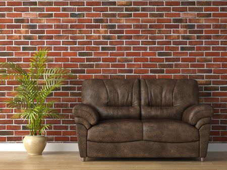 interior 3d scene of leather couch on brick wall Stock Photo