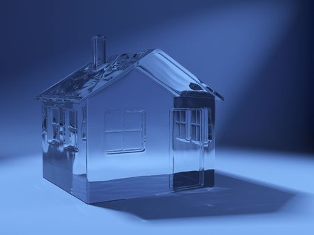 glass house: 3d shape of icon house made of glass on blue background