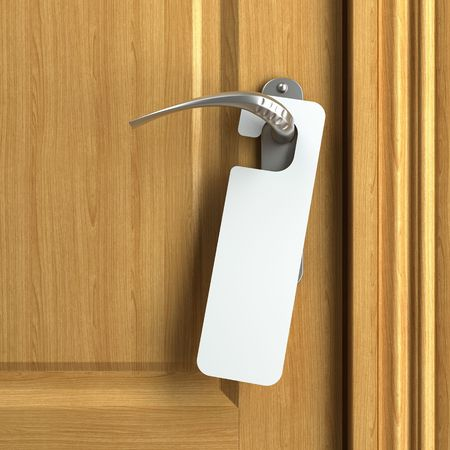 doorknob: white card hanging from doorknob with copy space where you can put your own text