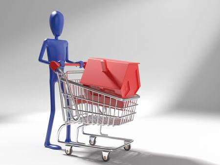 economic rent: concept of dummy with a red icon 3d house in a shopping cart. This image contains a path for exact isolation
