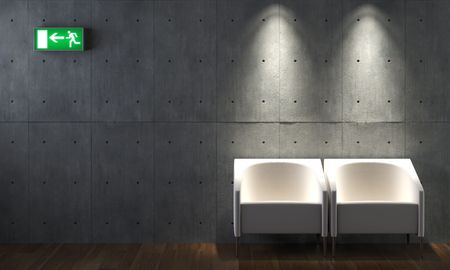 interior design of concrete wall with two chais and exit sign photo