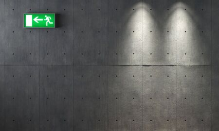background texture of concrete wall with two spotlights and an emergency exit signal Stock Photo - 4709566