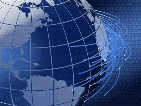 dataflow: 3d image of a glass world globe with fiber optics arround Stock Photo
