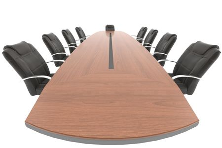 contains: meeting room table and chair from the boss point of view isolated on white background, THIS IMAGE CONTAINS A PATH.