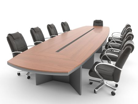meeting room table and chair isolated on white background, THIS IMAGE CONTAINS A PATH.