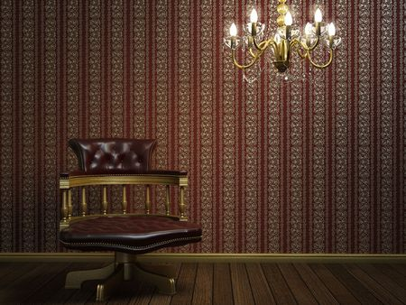 interior design scene with classic armchair and lamp over wallpaper with golden details Stock Photo