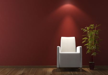 interior design of modern white armchair and plant on bordeaux wall