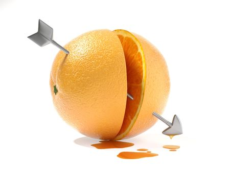 two halves of orange crossed by the arrow of Cupid as a concept for Stock Photo - 4744921