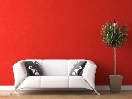 interior design of modern white couch on red wall background