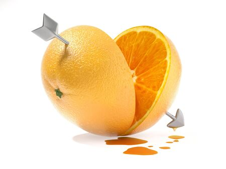 half and half: two heart shapped halves of orange crossed by the arrow of Cupid as a concept for